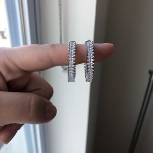 Sterling silver cubic zirconia hoops